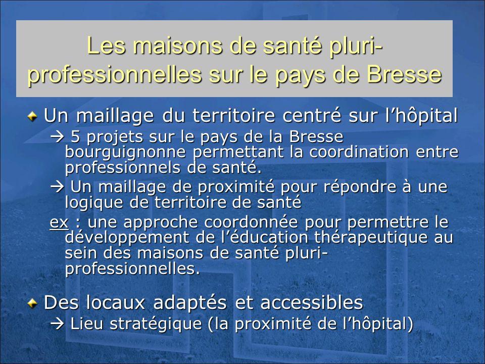 Les maisons de santé pluri- professionnelles sur le pays de Bresse Un maillage du territoire centré sur lhôpital 5 projets sur le pays de la Bresse bo
