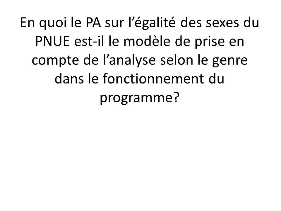 En quoi le PA sur légalité des sexes du PNUE est-il le modèle de prise en compte de lanalyse selon le genre dans le fonctionnement du programme