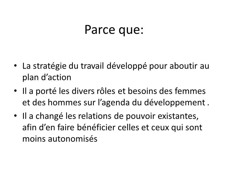 Parce que: La stratégie du travail développé pour aboutir au plan daction Il a porté les divers rôles et besoins des femmes et des hommes sur lagenda du développement.