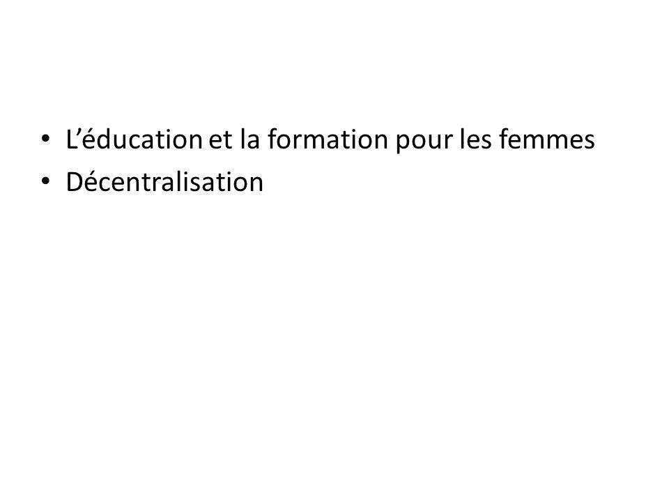 Léducation et la formation pour les femmes Décentralisation