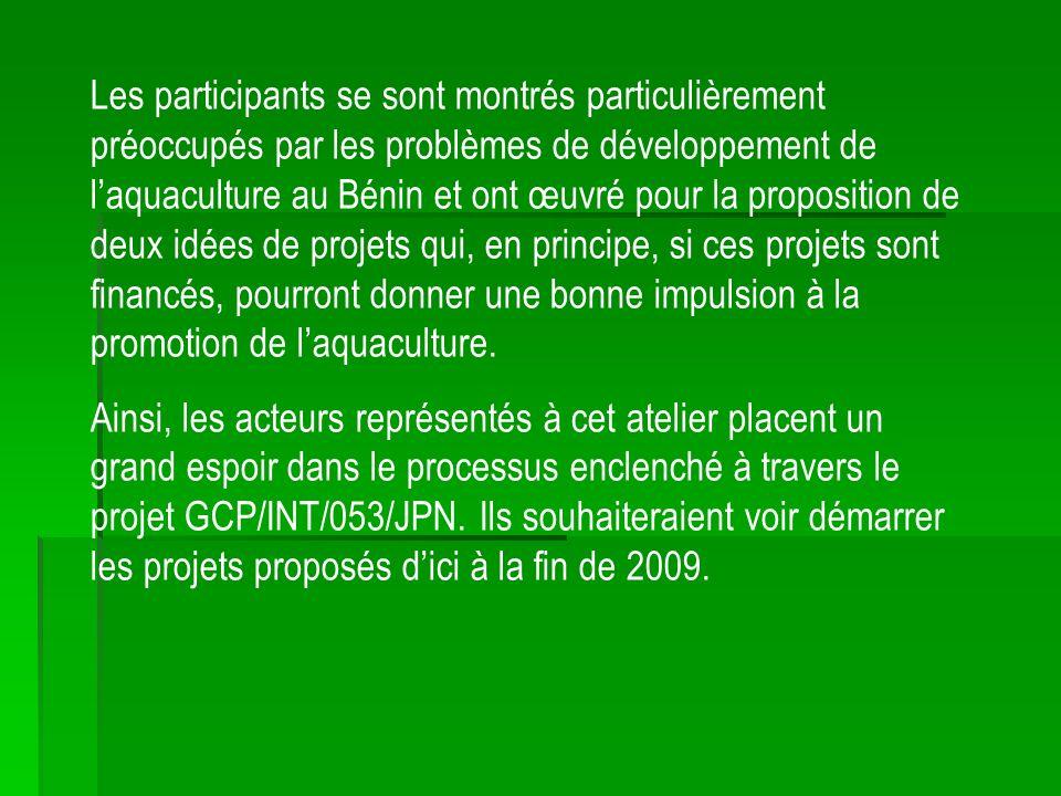 Les participants se sont montrés particulièrement préoccupés par les problèmes de développement de laquaculture au Bénin et ont œuvré pour la proposition de deux idées de projets qui, en principe, si ces projets sont financés, pourront donner une bonne impulsion à la promotion de laquaculture.