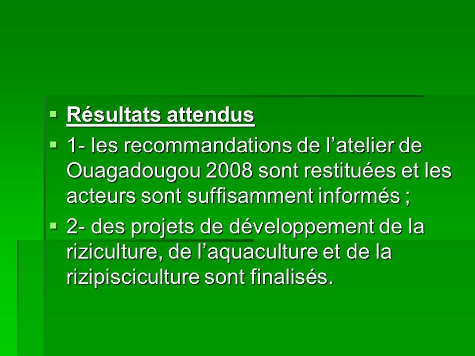Résultats attendus Résultats attendus 1- les recommandations de latelier de Ouagadougou 2008 sont restituées et les acteurs sont suffisamment informés ; 1- les recommandations de latelier de Ouagadougou 2008 sont restituées et les acteurs sont suffisamment informés ; 2- des projets de développement de la riziculture, de laquaculture et de la rizipisciculture sont finalisés.