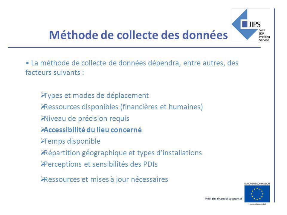 Méthode de collecte des données La méthode de collecte de données dépendra, entre autres, des facteurs suivants : Types et modes de déplacement Ressou