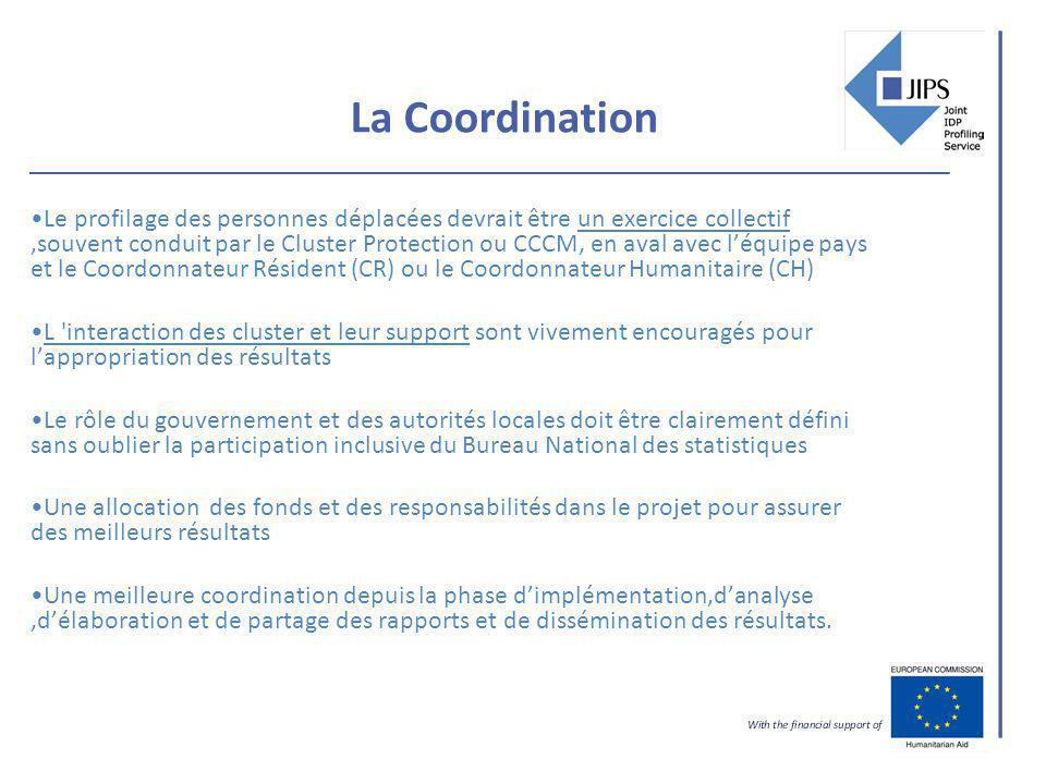 La Coordination Le profilage des personnes déplacées devrait être un exercice collectif,souvent conduit par le Cluster Protection ou CCCM, en aval ave