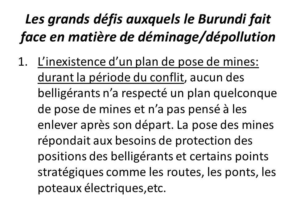 Les grands défis auxquels le Burundi fait face en matière de déminage/dépollution 1.Linexistence dun plan de pose de mines: durant la période du conflit, aucun des belligérants na respecté un plan quelconque de pose de mines et na pas pensé à les enlever après son départ.