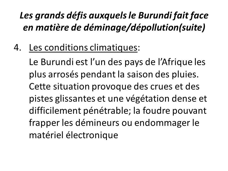 Les grands défis auxquels le Burundi fait face en matière de déminage/dépollution(suite) 4.Les conditions climatiques: Le Burundi est lun des pays de lAfrique les plus arrosés pendant la saison des pluies.
