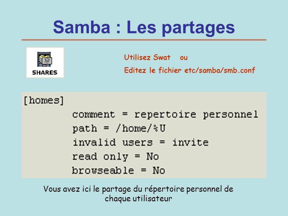 Samba : Les partages Utilisez Swat ou Editez le fichier etc/samba/smb.conf Vous avez ici le partage du répertoire personnel de chaque utilisateur