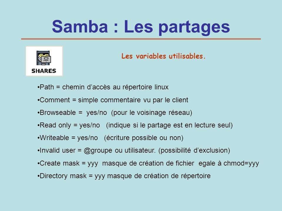 Samba : Les partages Les variables utilisables. Path = chemin daccès au répertoire linux Comment = simple commentaire vu par le client Browseable = ye