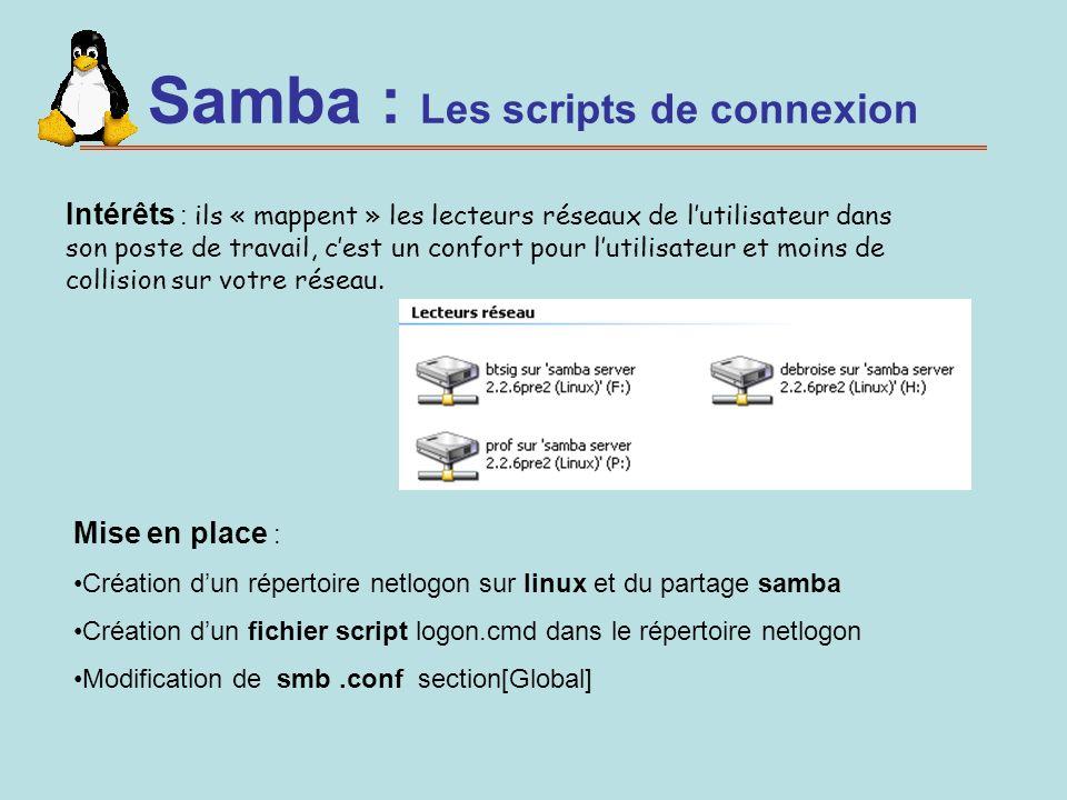 Samba : Les scripts de connexion Intérêts : ils « mappent » les lecteurs réseaux de lutilisateur dans son poste de travail, cest un confort pour lutil