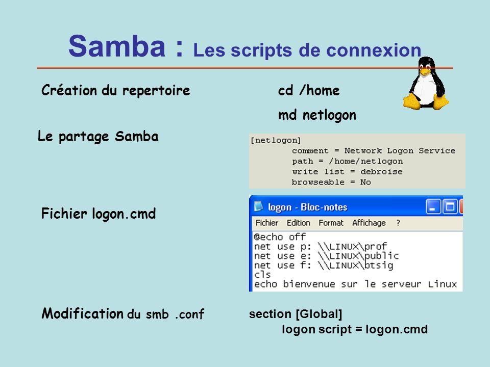 Samba : Les scripts de connexion Le partage Samba Fichier logon.cmd Création du repertoire cd /home md netlogon Modification du smb.conf section [Glob