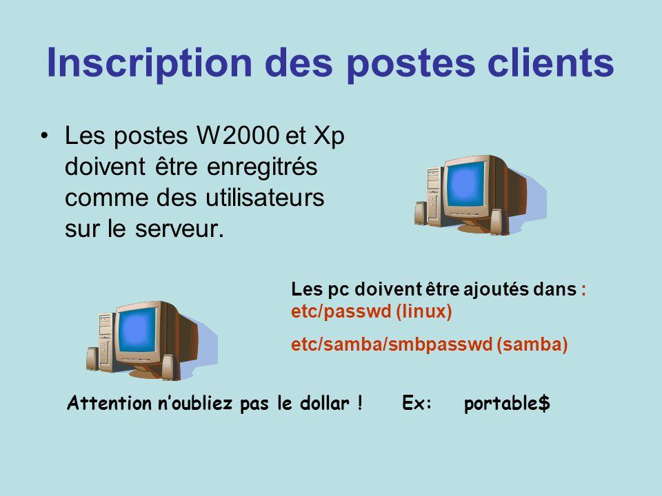 Inscription des postes clients Les postes W2000 et Xp doivent être enregitrés comme des utilisateurs sur le serveur. Les pc doivent être ajoutés dans