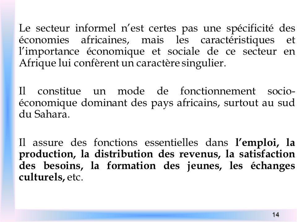 14 Le secteur informel nest certes pas une spécificité des économies africaines, mais les caractéristiques et limportance économique et sociale de ce