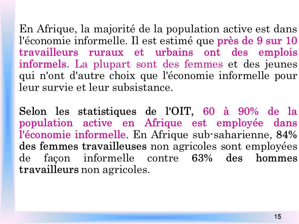 15 En Afrique, la majorité de la population active est dans l'économie informelle. Il est estimé que près de 9 sur 10 travailleurs ruraux et urbains o