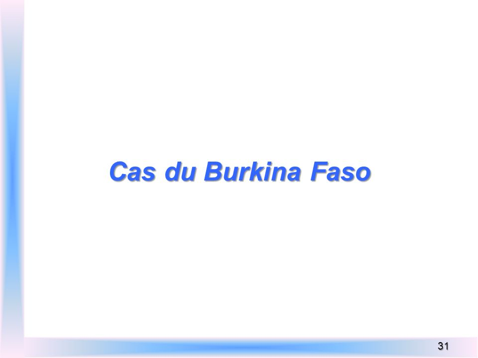 Cas du Burkina Faso 31