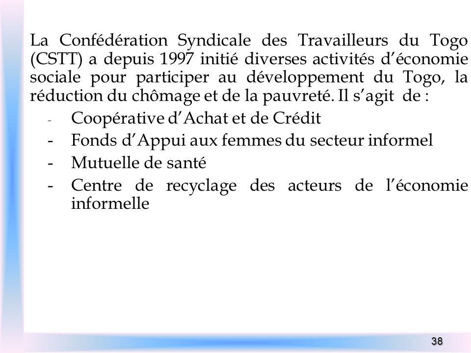 38 La Confédération Syndicale des Travailleurs du Togo (CSTT) a depuis 1997 initié diverses activités déconomie sociale pour participer au développeme