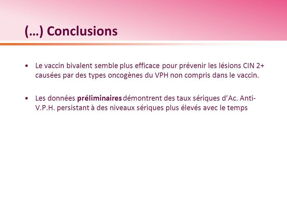 (…) Conclusions Le vaccin bivalent semble plus efficace pour prévenir les lésions CIN 2+ causées par des types oncogènes du VPH non compris dans le va