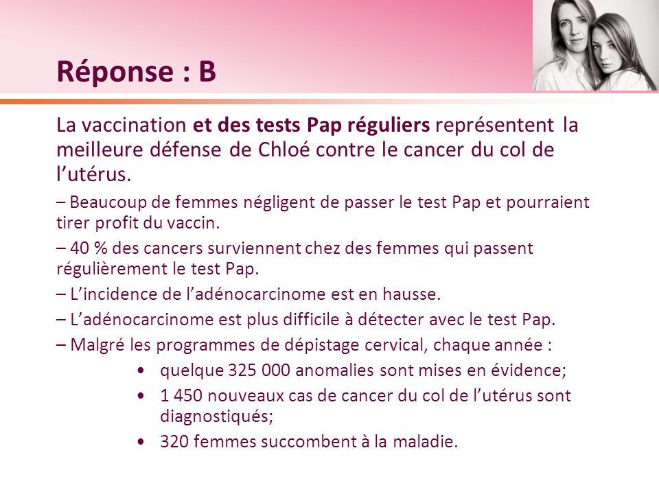 Réponse : B La vaccination et des tests Pap réguliers représentent la meilleure défense de Chloé contre le cancer du col de lutérus. – Beaucoup de fem