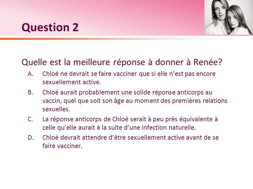 Question 2 Quelle est la meilleure réponse à donner à Renée? A.Chloé ne devrait se faire vacciner que si elle nest pas encore sexuellement active. B.C