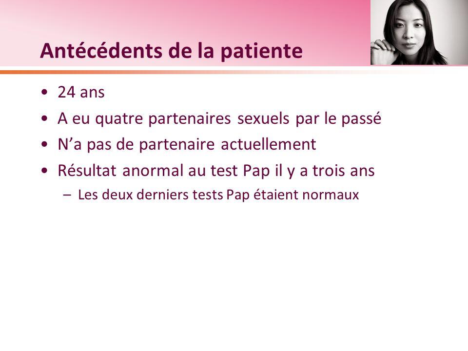 Antécédents de la patiente 24 ans A eu quatre partenaires sexuels par le passé Na pas de partenaire actuellement Résultat anormal au test Pap il y a t