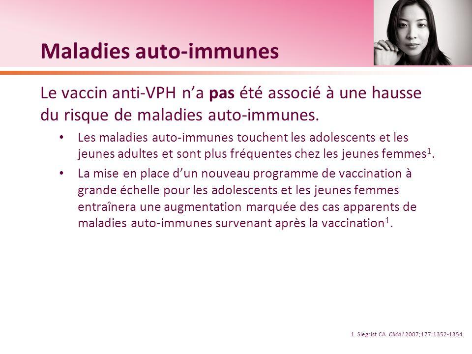 Maladies auto-immunes Le vaccin anti-VPH na pas été associé à une hausse du risque de maladies auto-immunes. Les maladies auto-immunes touchent les ad