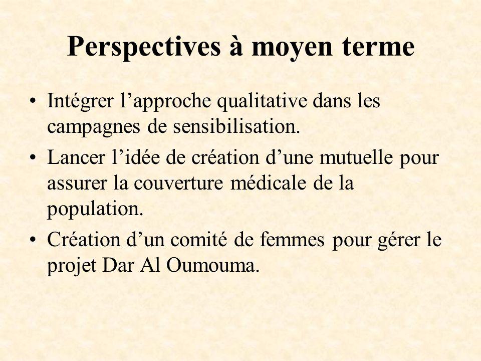 Perspectives à moyen terme Intégrer lapproche qualitative dans les campagnes de sensibilisation. Lancer lidée de création dune mutuelle pour assurer l