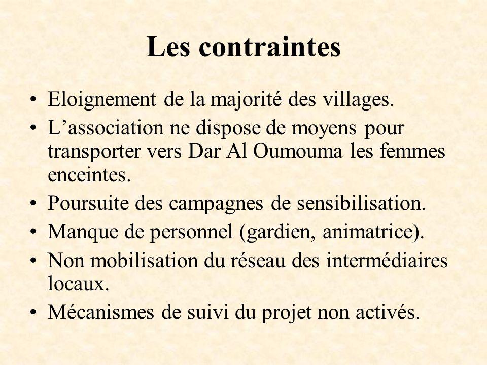 Les contraintes Eloignement de la majorité des villages. Lassociation ne dispose de moyens pour transporter vers Dar Al Oumouma les femmes enceintes.