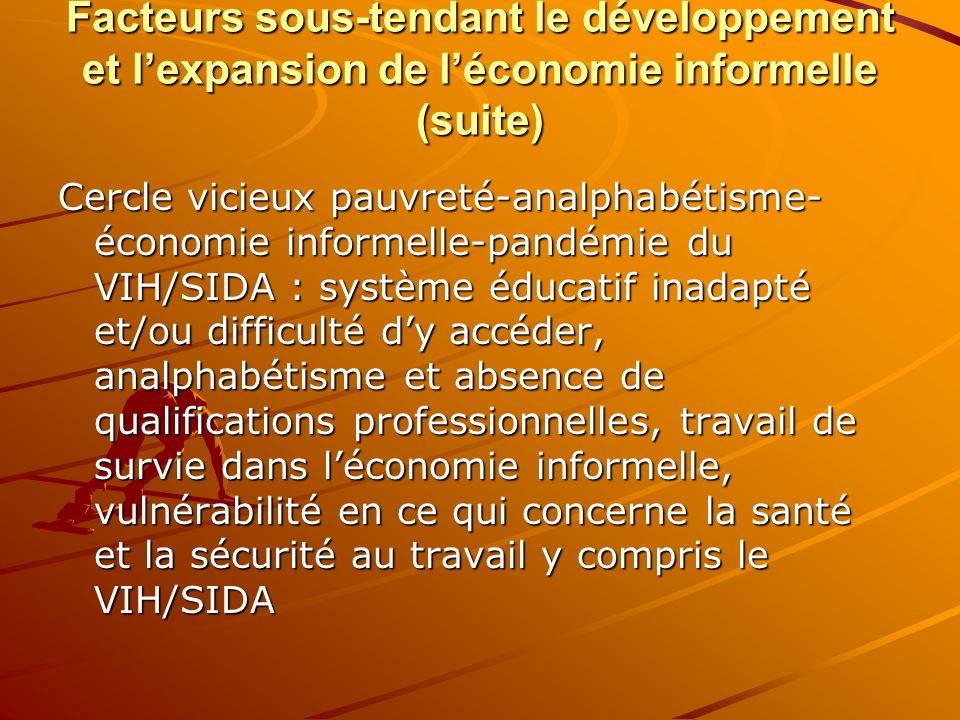 Facteurs sous-tendant le développement et lexpansion de léconomie informelle (suite) Cercle vicieux pauvreté-analphabétisme- économie informelle-pandé