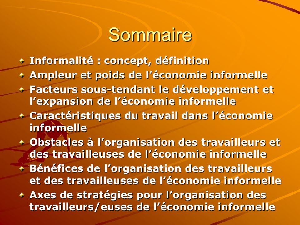 Sommaire Informalité : concept, définition Ampleur et poids de léconomie informelle Facteurs sous-tendant le développement et lexpansion de léconomie