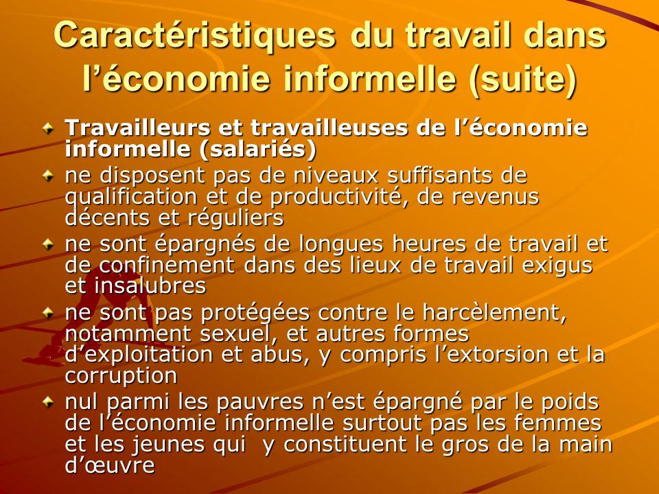 Caractéristiques du travail dans léconomie informelle (suite) Travailleurs et travailleuses de léconomie informelle (salariés) ne disposent pas de niv