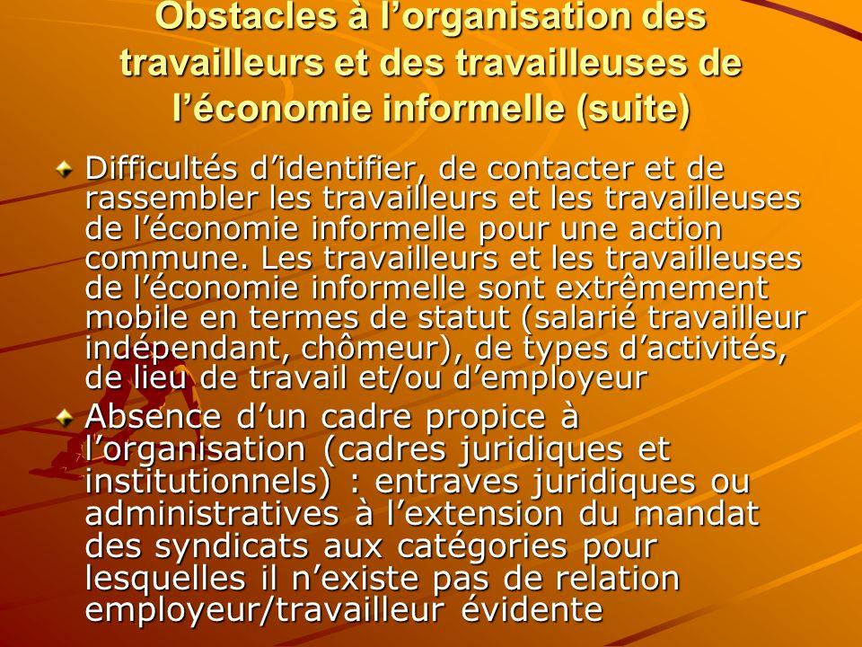 Obstacles à lorganisation des travailleurs et des travailleuses de léconomie informelle (suite) Difficultés didentifier, de contacter et de rassembler