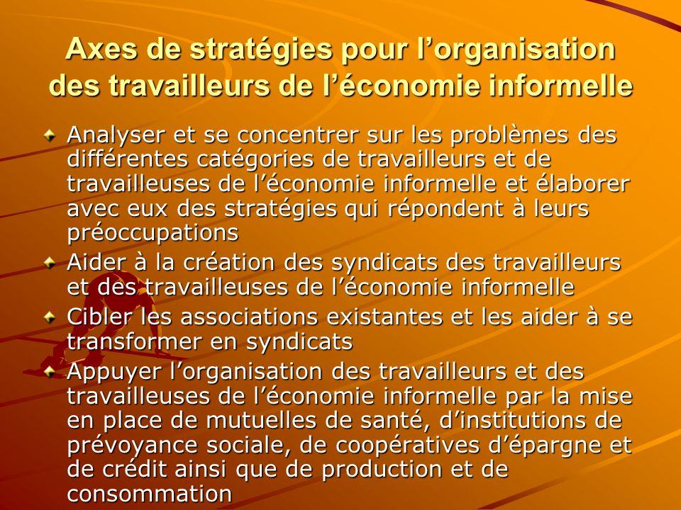 Axes de stratégies pour lorganisation des travailleurs de léconomie informelle Analyser et se concentrer sur les problèmes des différentes catégories