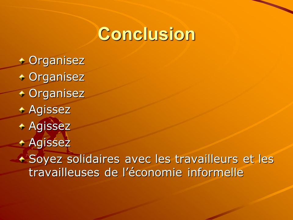 Conclusion OrganisezOrganisezOrganisezAgissezAgissezAgissez Soyez solidaires avec les travailleurs et les travailleuses de léconomie informelle