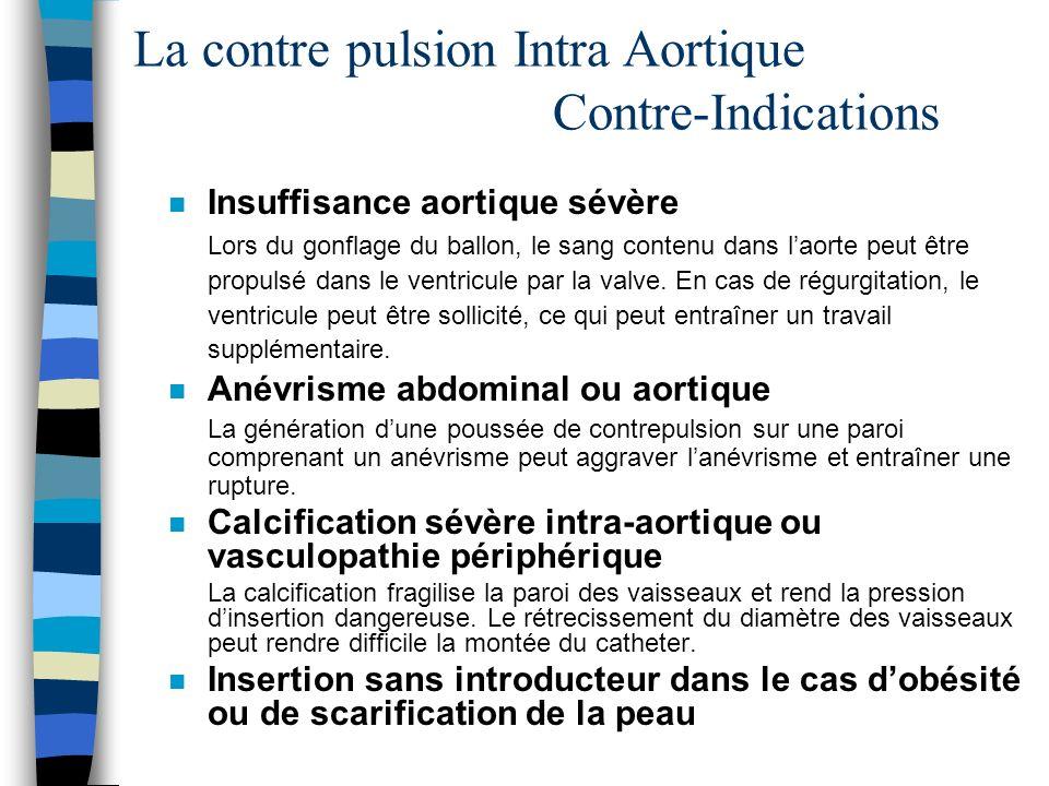 La contre pulsion Intra Aortique Contre-Indications n Insuffisance aortique sévère Lors du gonflage du ballon, le sang contenu dans laorte peut être p