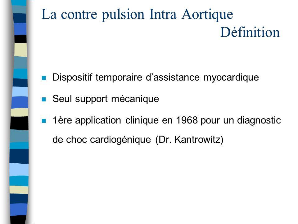 n Dispositif temporaire dassistance myocardique n Seul support mécanique n 1ère application clinique en 1968 pour un diagnostic de choc cardiogénique
