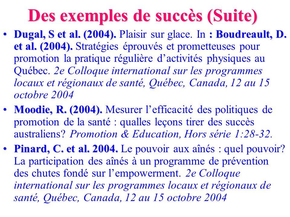 Des exemples de succès (Suite) Dugal, S et al. (2004). : Boudreault, D. et al. (2004).Dugal, S et al. (2004). Plaisir sur glace. In : Boudreault, D. e