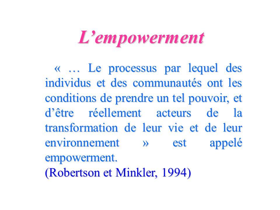 Lempowerment « … Le processus par lequel des individus et des communautés ont les conditions de prendre un tel pouvoir, et dêtre réellement acteurs de