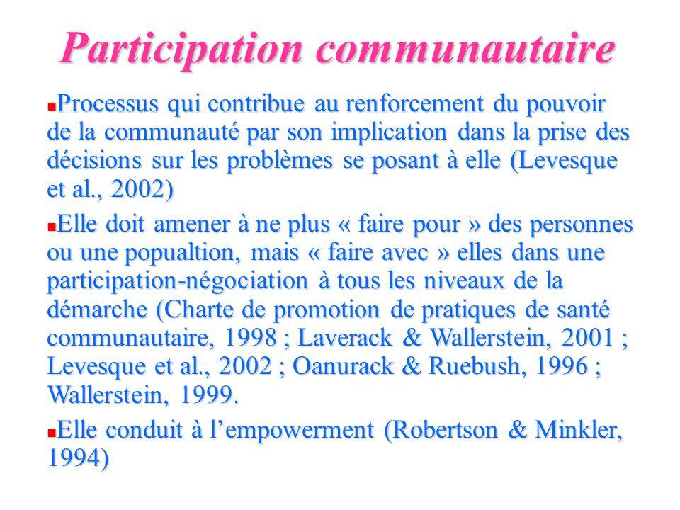 Participation communautaire n Processus qui contribue au renforcement du pouvoir de la communauté par son implication dans la prise des décisions sur