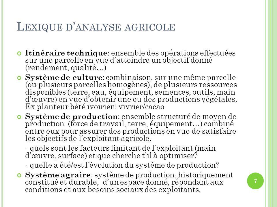 Itinéraire technique : ensemble des opérations effectuées sur une parcelle en vue datteindre un objectif donné (rendement, qualité…) Système de cultur