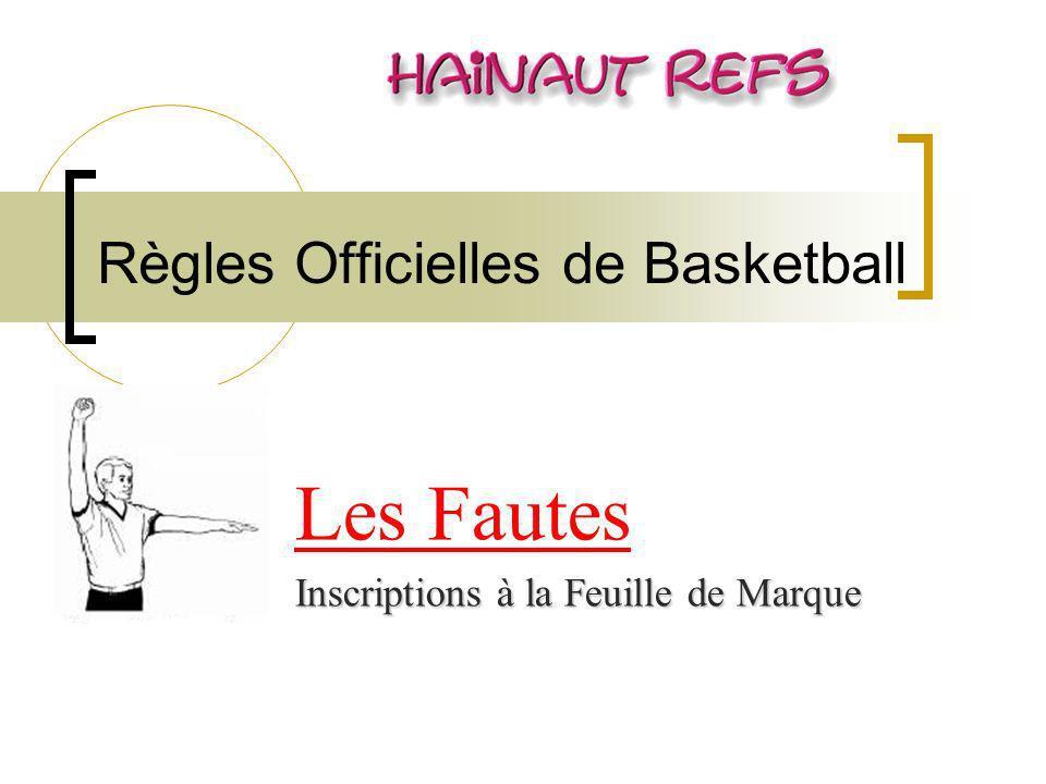 Règles Officielles de Basketball Les Fautes Inscriptions à la Feuille de Marque