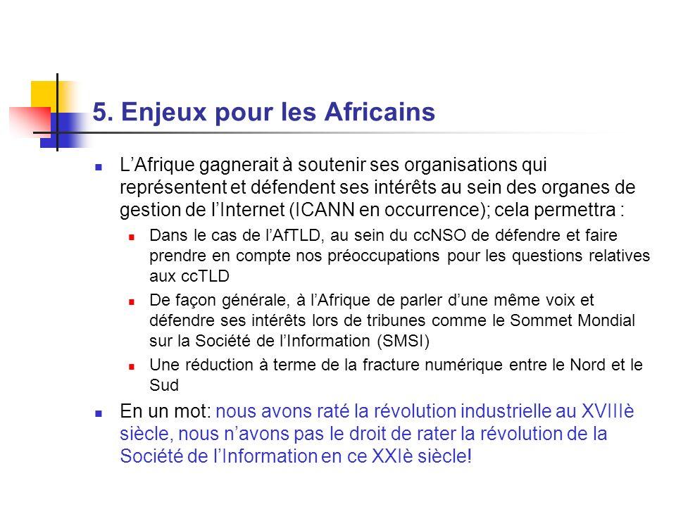 5. Enjeux pour les Africains LAfrique gagnerait à soutenir ses organisations qui représentent et défendent ses intérêts au sein des organes de gestion