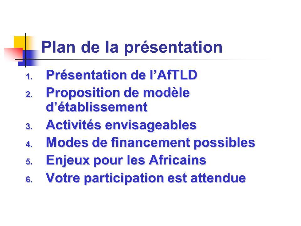 Plan de la présentation 1. Présentation de lAfTLD 2. Proposition de modèle détablissement 3. Activités envisageables 4. Modes de financement possibles