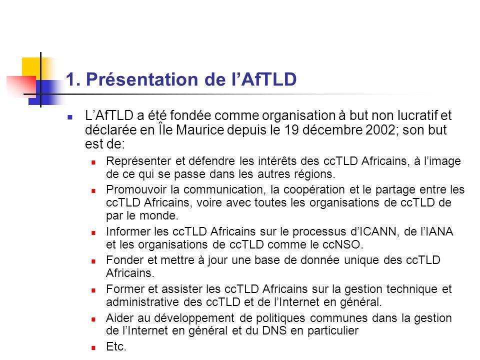 1. Présentation de lAfTLD LAfTLD a été fondée comme organisation à but non lucratif et déclarée en Île Maurice depuis le 19 décembre 2002; son but est