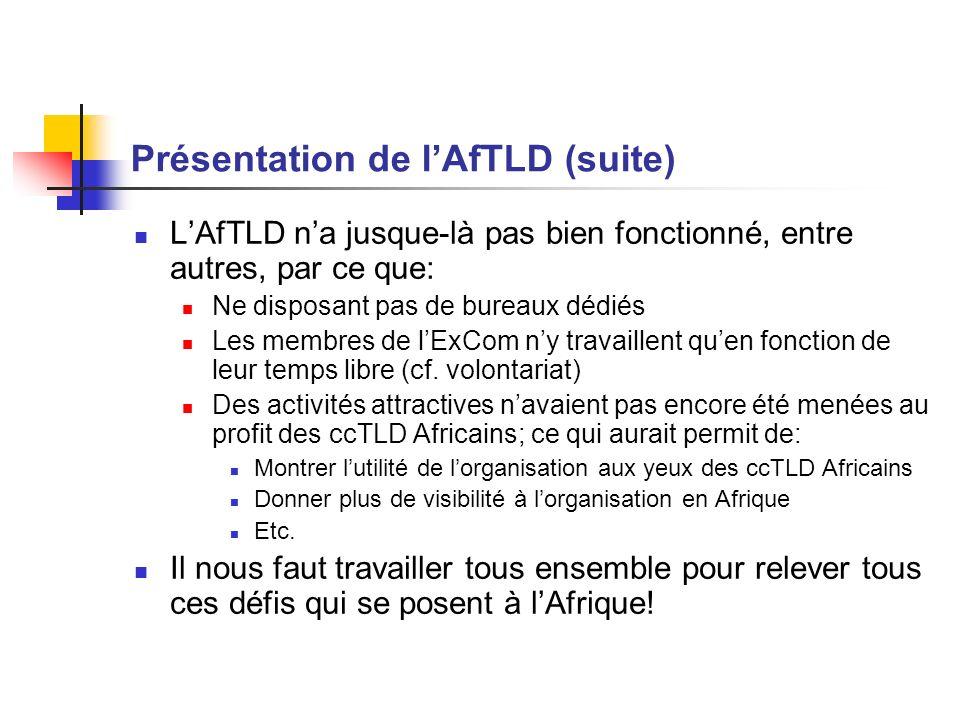 Présentation de lAfTLD (suite) LAfTLD na jusque-là pas bien fonctionné, entre autres, par ce que: Ne disposant pas de bureaux dédiés Les membres de lE