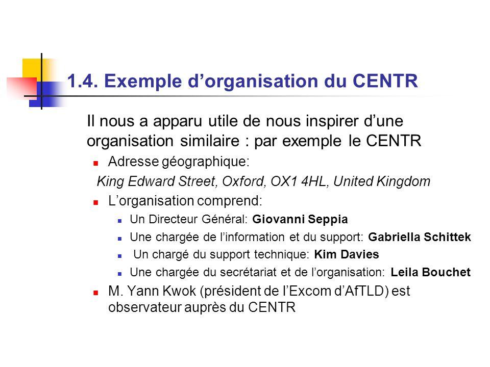 1.4. Exemple dorganisation du CENTR Il nous a apparu utile de nous inspirer dune organisation similaire : par exemple le CENTR Adresse géographique: K
