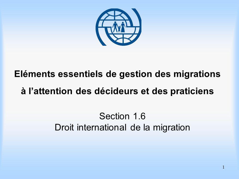 1 Eléments essentiels de gestion des migrations à lattention des décideurs et des praticiens Section 1.6 Droit international de la migration