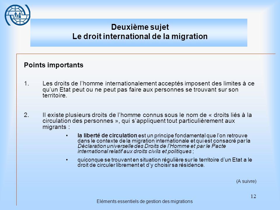 12 Eléments essentiels de gestion des migrations Deuxième sujet Le droit international de la migration Points importants 1.Les droits de lhomme intern
