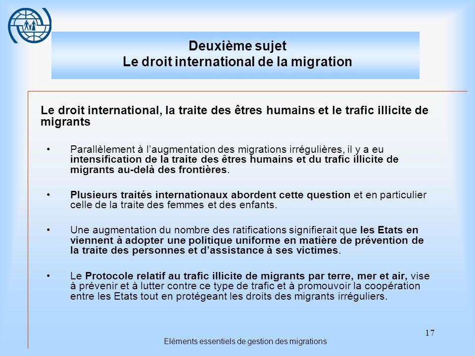 17 Eléments essentiels de gestion des migrations Deuxième sujet Le droit international de la migration Le droit international, la traite des êtres hum