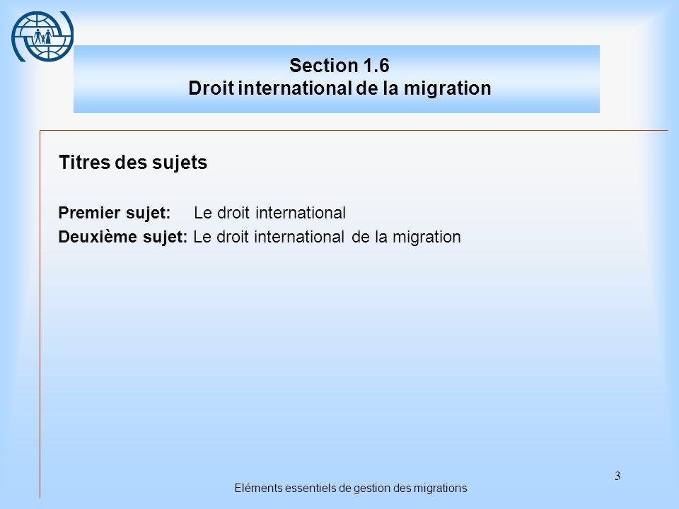 3 Eléments essentiels de gestion des migrations Section 1.6 Droit international de la migration Titres des sujets Premier sujet: Le droit internationa