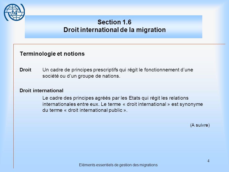 4 Eléments essentiels de gestion des migrations Section 1.6 Droit international de la migration Terminologie et notions DroitUn cadre de principes pre