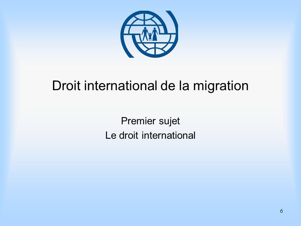 6 Droit international de la migration Premier sujet Le droit international